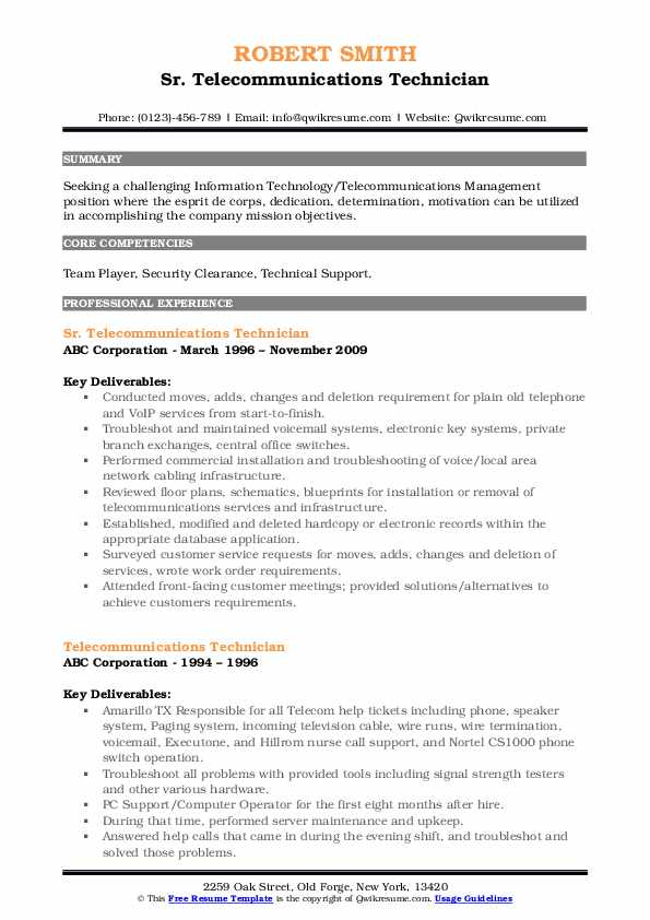 telecommunications technician resume samples qwikresume voice and data pdf front desk Resume Voice And Data Technician Resume
