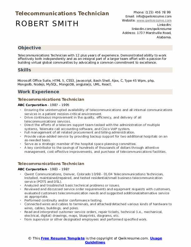 telecommunications technician resume samples qwikresume voice and data pdf product design Resume Voice And Data Technician Resume