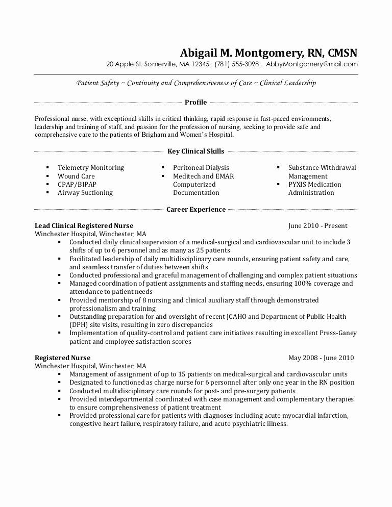 telemetry nurse job description resume awesome after nursing examples template example Resume Telemetry Nurse Resume Example