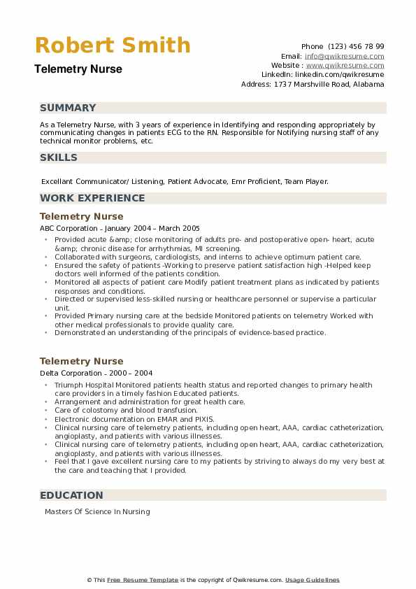 telemetry nurse resume samples qwikresume example pdf angular template school food Resume Telemetry Nurse Resume Example