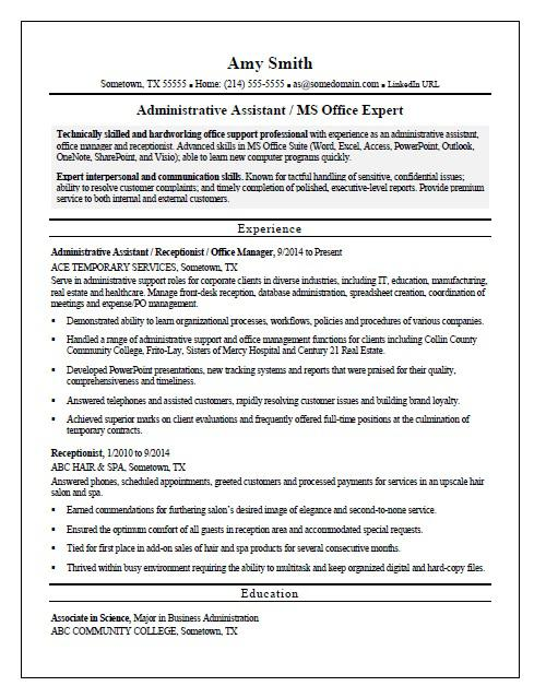 temp admin resume sample monster sharepoint administrator administrative assistant free Resume Sharepoint Administrator Resume
