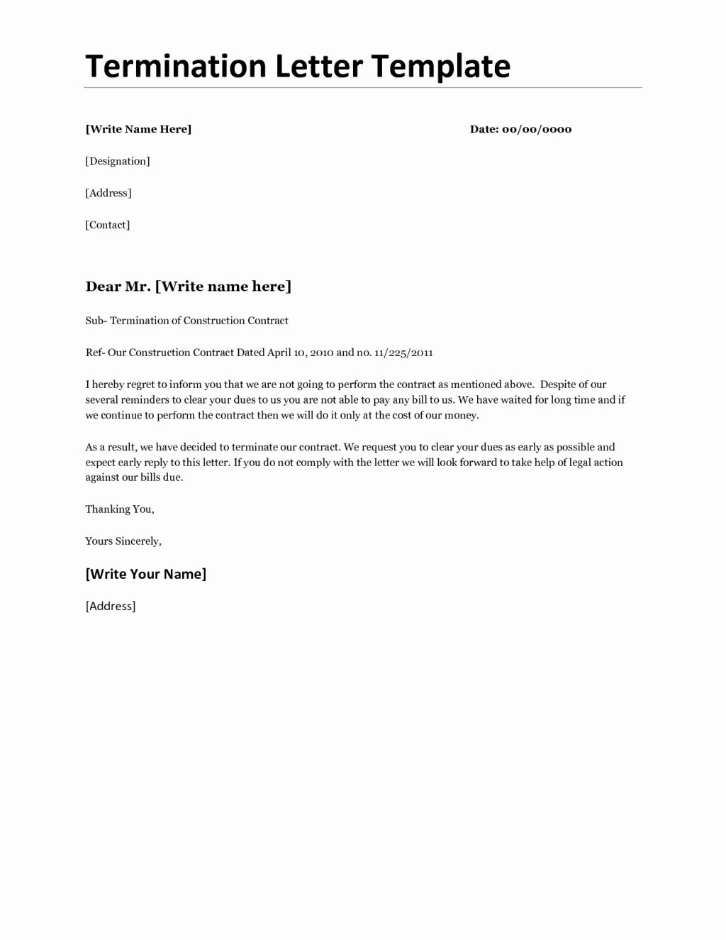 termination of contract template unique business letter for non renewal templates Resume Employee Contract Extension Letter Resume
