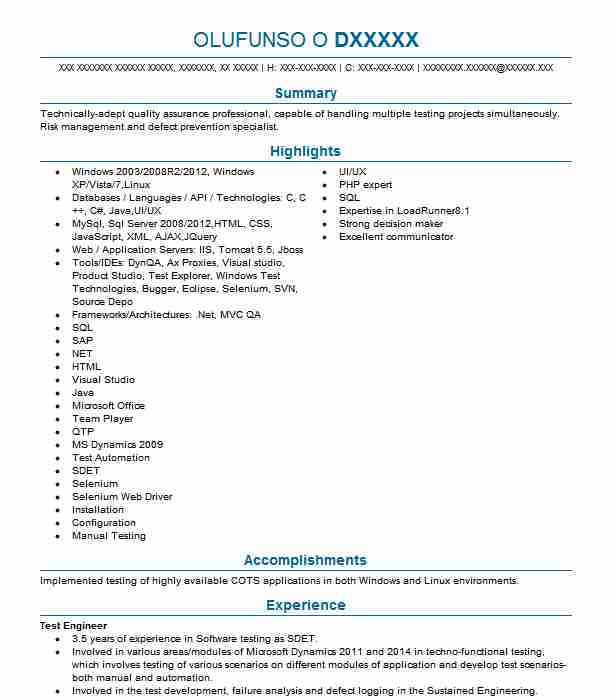 test engineer resume example engineering resumes livecareer sample for experienced ceo Resume Sample Resume For Experienced Test Engineer