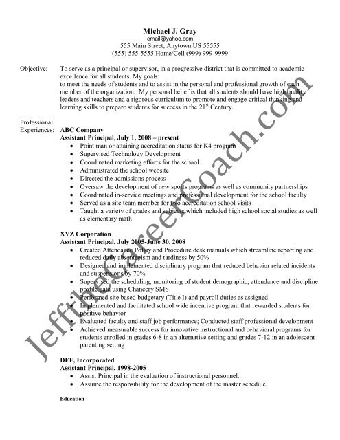 the assistant principal resume sample three in pdf objective for picker packer job Resume Objective For Assistant Principal Resume