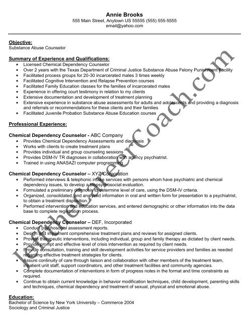 the chemical dependency counselor resume sample substance abuse english grammar Resume Substance Abuse Counselor Resume