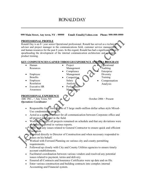 the operations coordinator resume sample two in pdf post position desired junk removal Resume Operations Coordinator Resume