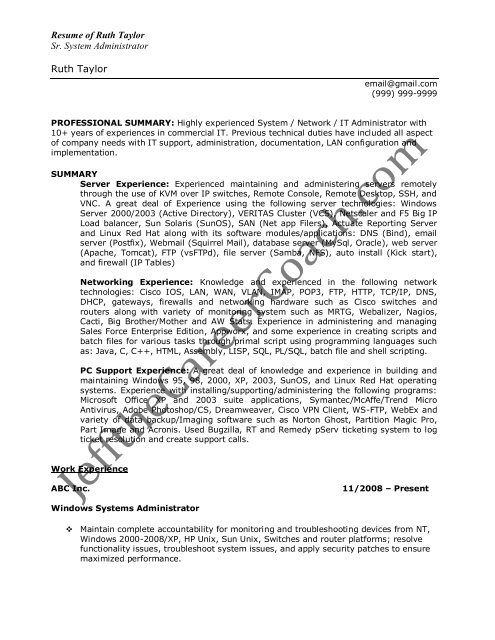 the windows system administrator resume sample experience dorothy proper template Resume Windows System Administrator Sample Resume Experience