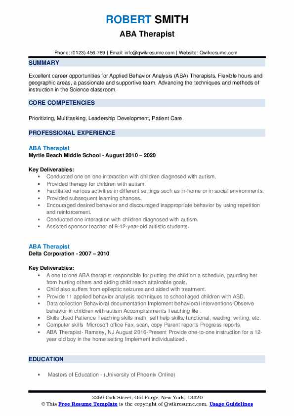 therapist resume samples qwikresume applied behavior analysis pdf format for doctors job Resume Applied Behavior Analysis Resume