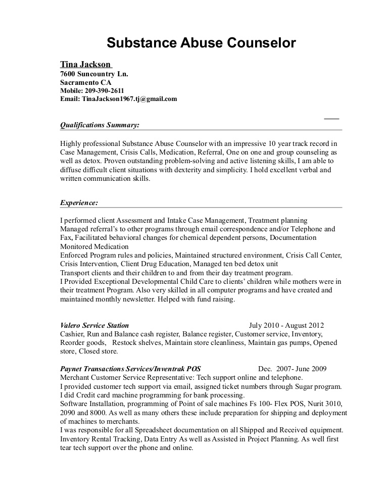 tina substance abuse resume counselor lva1 app6892 thumbnail format for chef job of bcom Resume Substance Abuse Counselor Resume