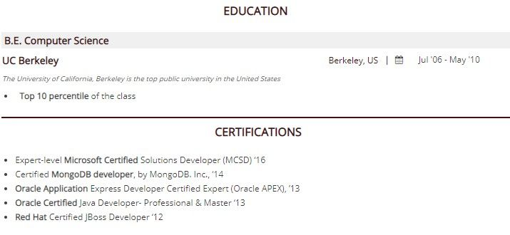 to certification on resume guide with examples and certifications separate section web Resume Resume And Certifications