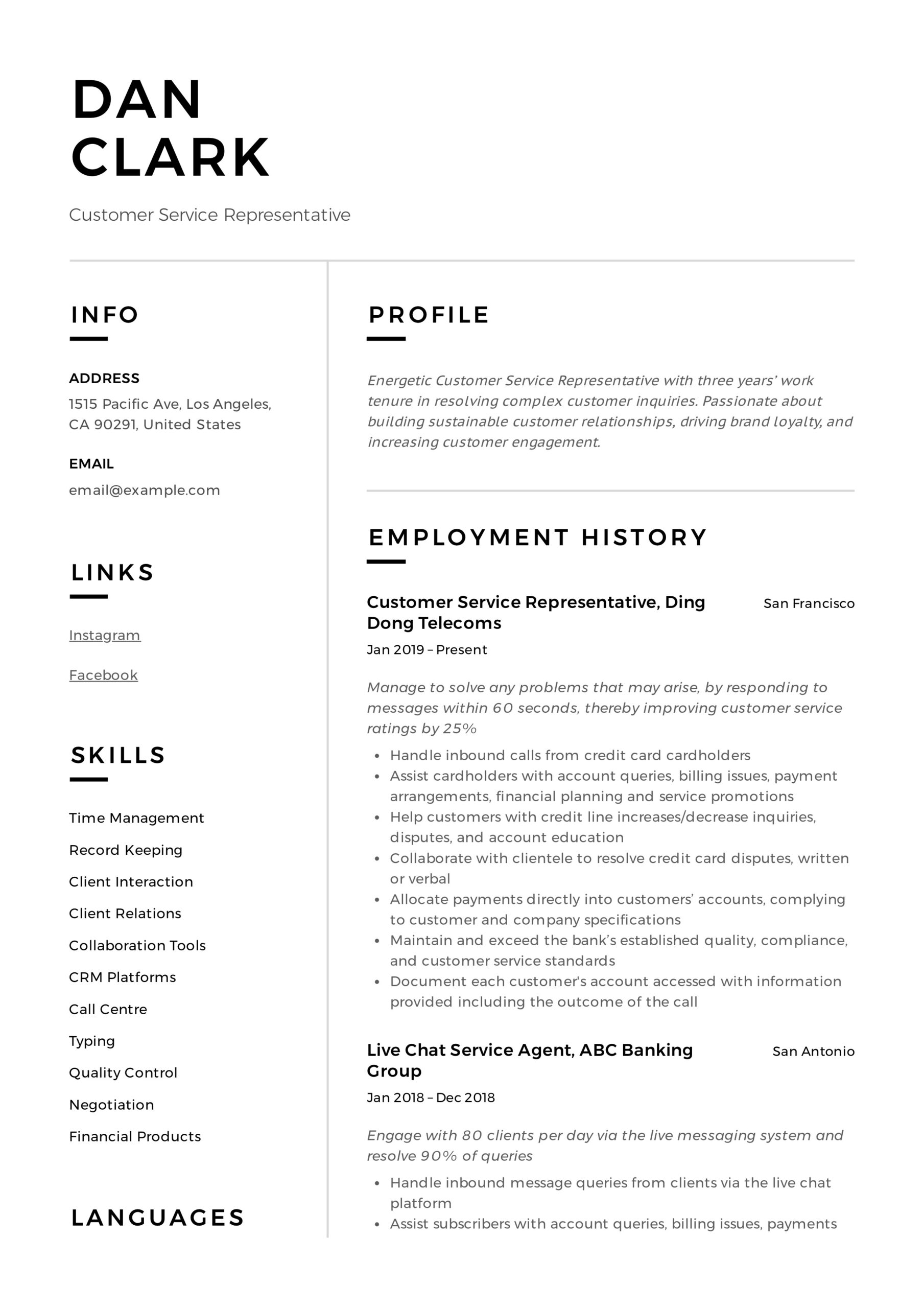 to customer service representative resume pdf samples words for collaborate simple latex Resume Resume Words For Collaborate