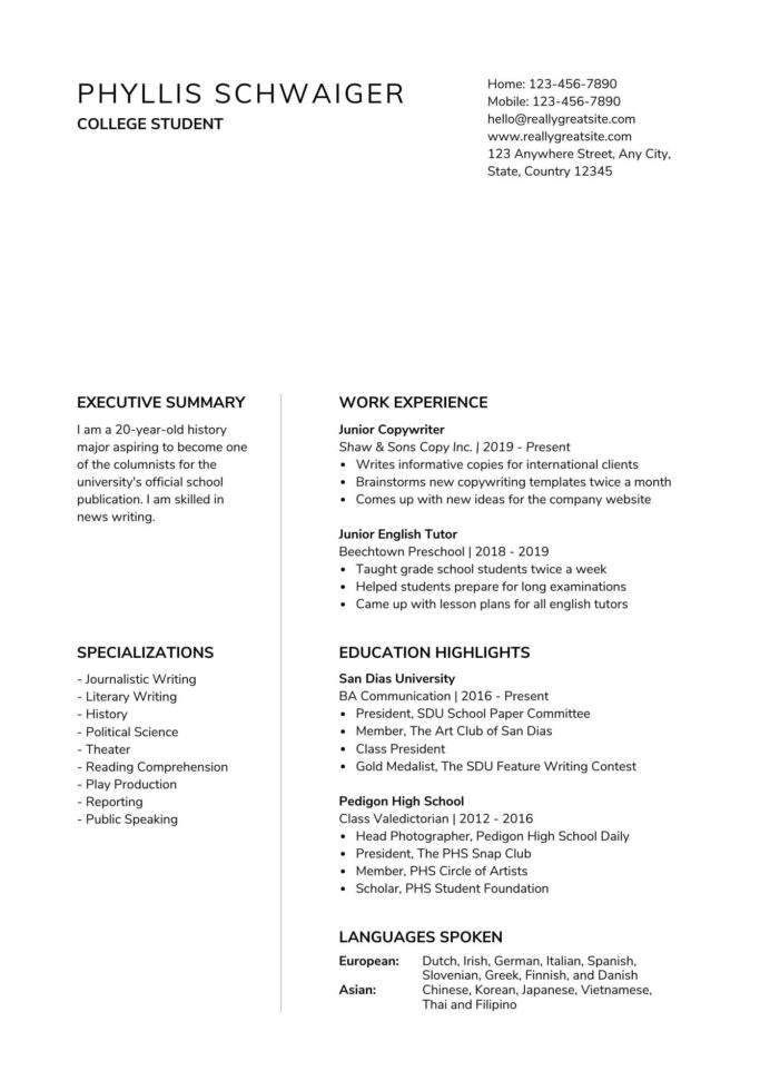 to make resume for first job canva retail high school student and black minimalist Resume Retail Resume For High School Student
