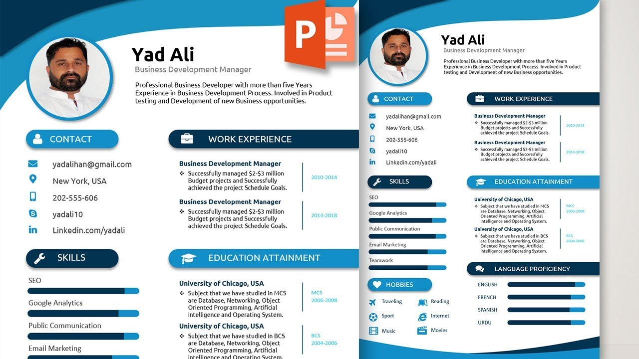 to write and design an awesome elegant resume template in ms powerpoint free microsoft Resume Microsoft Powerpoint Resume Templates