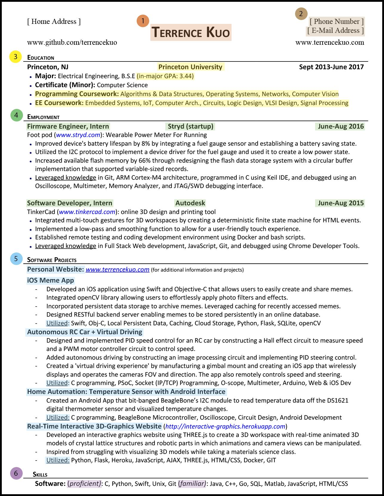 to write killer software engineering résumé projects for resume sections highlight tk Resume Software Projects For Resume