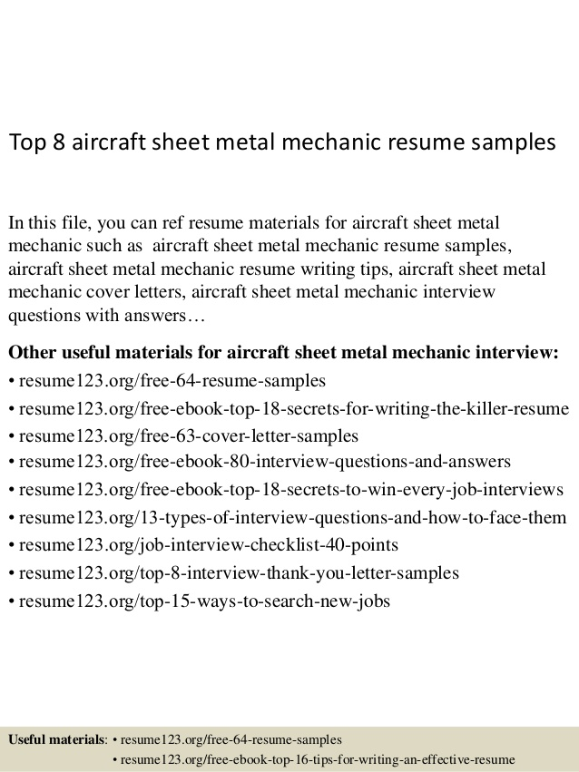 top aircraft sheet metal mechanic resume samples aviation sample examples with linkedin Resume Aviation Mechanic Resume Sample