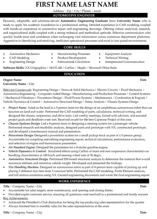 top automotive resume templates samples automobile engineer sample firefighter skills for Resume Automobile Engineer Resume