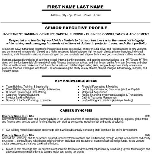 top banking resume templates samples professional template executive investment sample Resume Professional Banking Resume Template