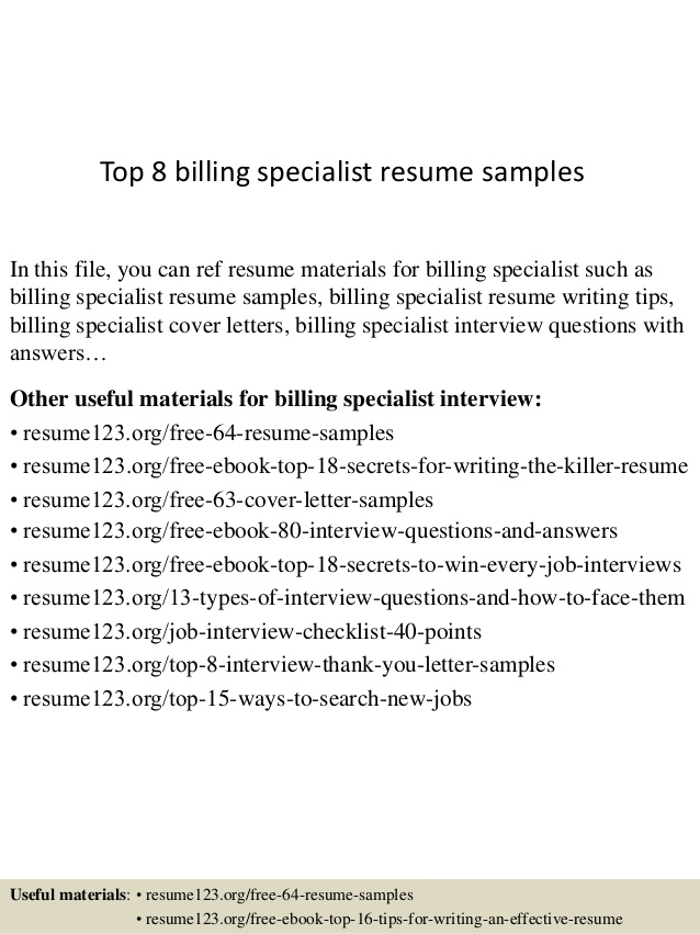 top billing specialist resume samples sample college basketball coach engineering student Resume Billing Specialist Resume Sample