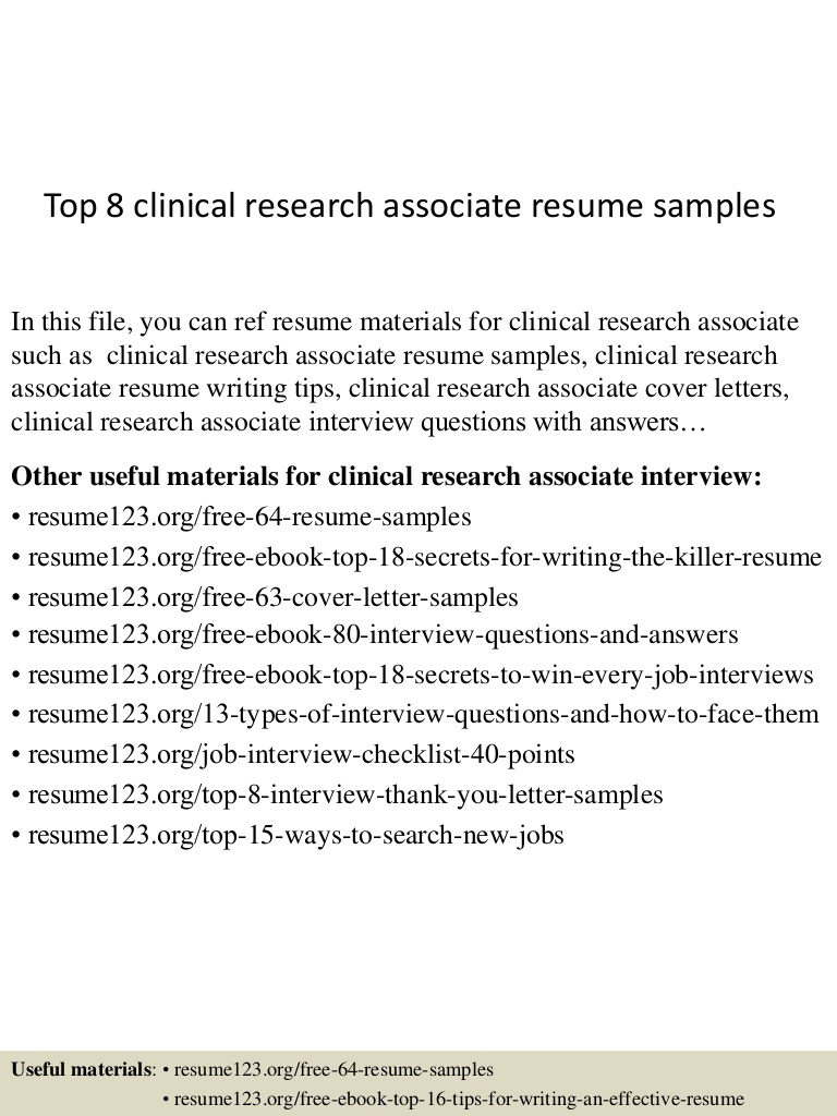 top clinical research associate resume samples top8clinicalresearchassociateresumesamples Resume Clinical Research Associate Resume