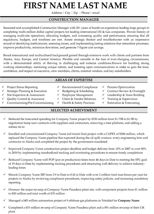 top construction resume templates samples project manager examples sample merchandiser Resume Construction Project Manager Resume Examples