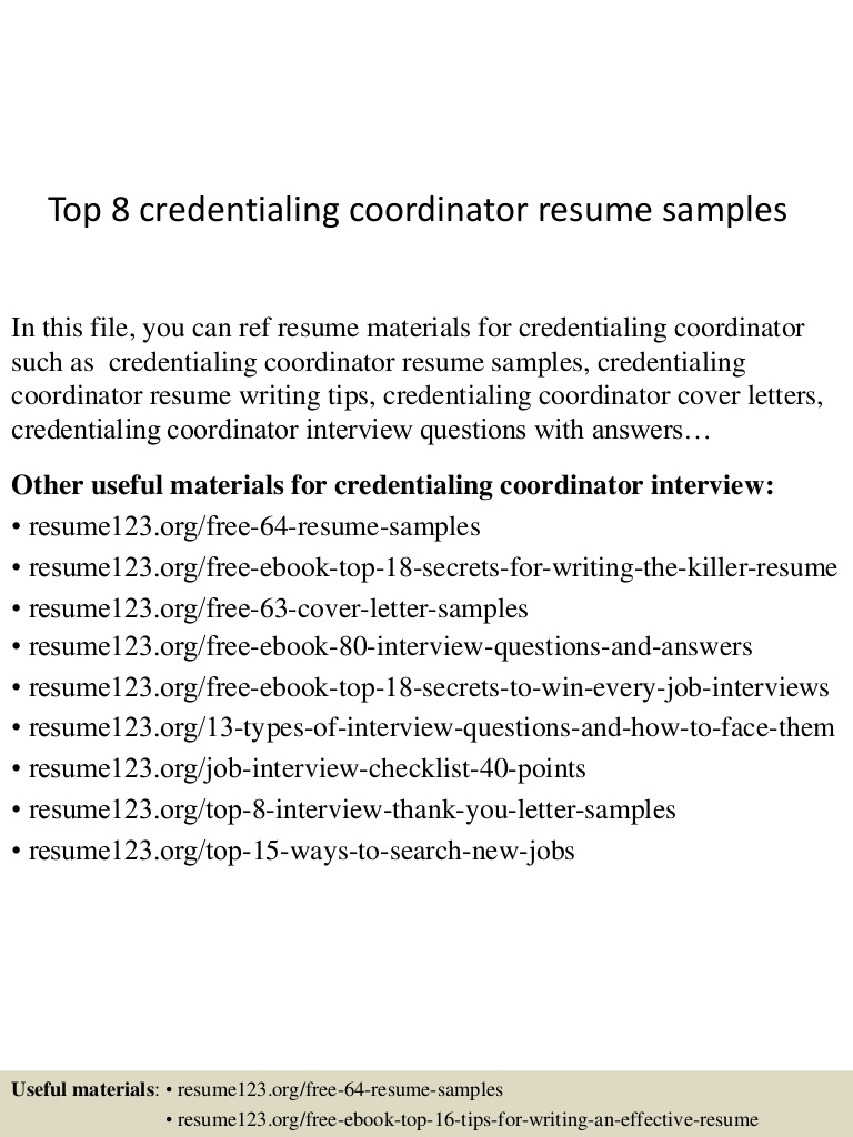 top credentialing coordinator resume samples specialist sample Resume Credentialing Specialist Resume Sample