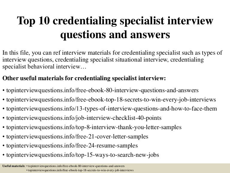 top credentialing specialist interview questions and answers this or that resume sample Resume Credentialing Specialist Resume Sample