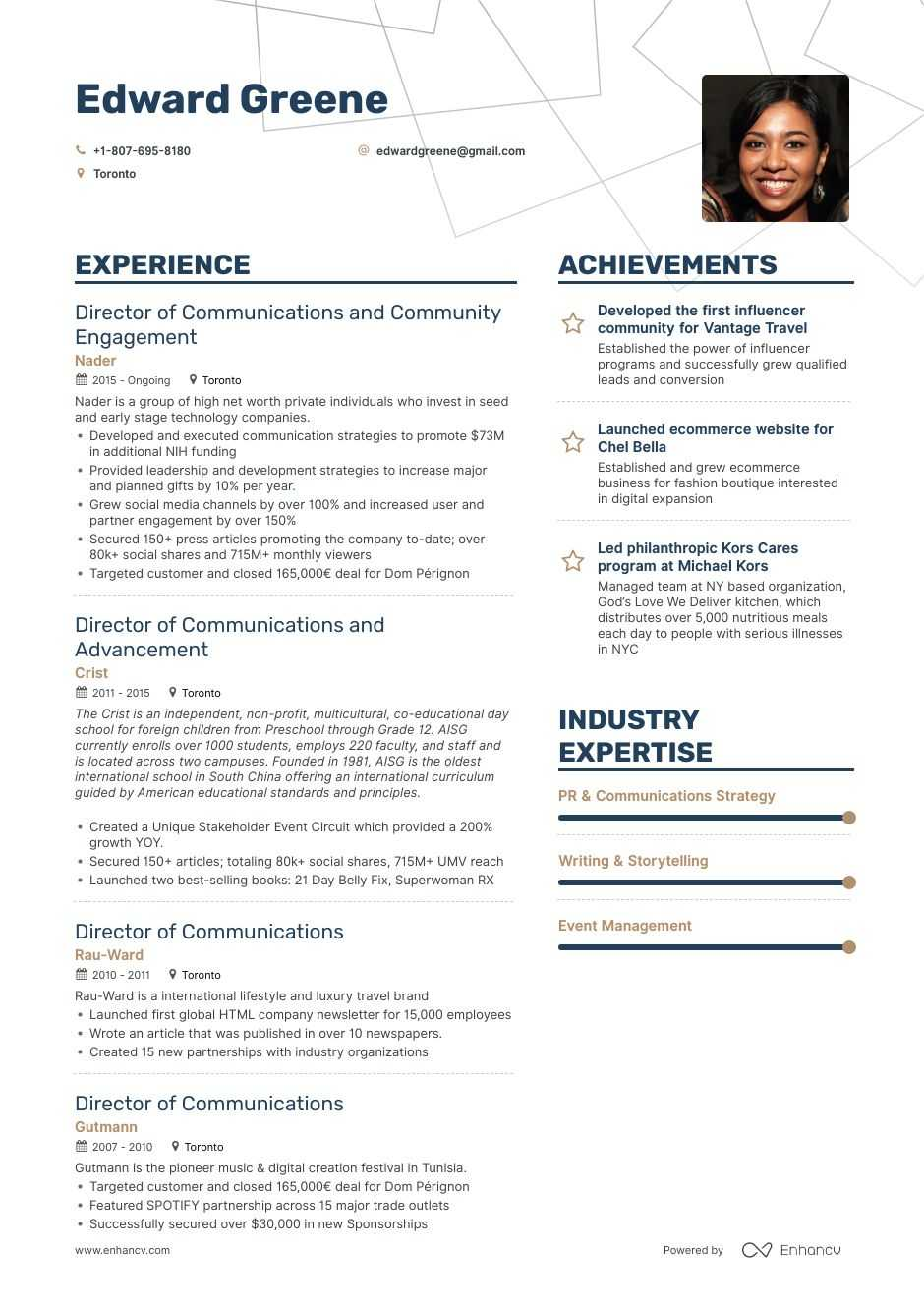 top director of communications resume examples samples for enhancv federal government Resume Communications Director Resume