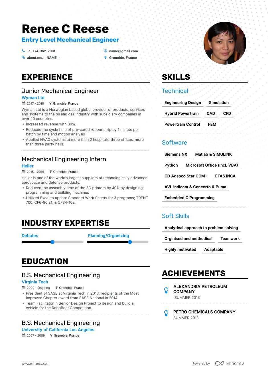 top entry level mechanical engineer resume examples expert tips enhancv engineering Resume Entry Level Mechanical Engineering Resume Examples