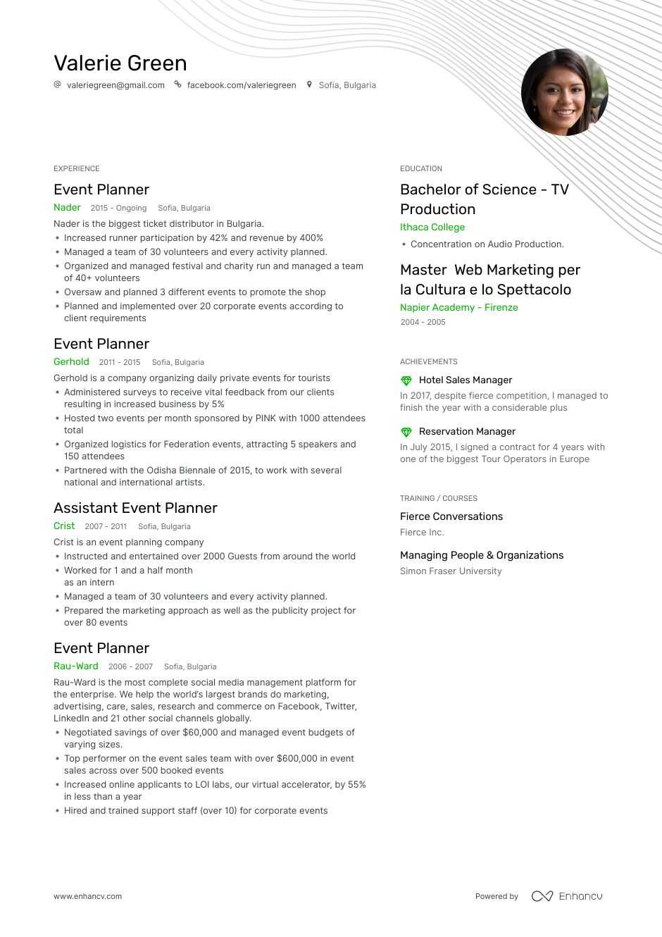 top event planner resume examples samples for enhancv wedding objective overview Resume Wedding Planner Resume Objective