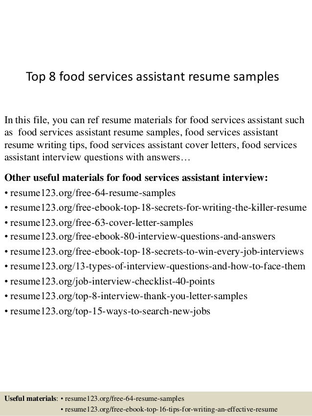 top food services assistant resume samples sample service bioinformatics skills acting Resume Sample Food Service Resume