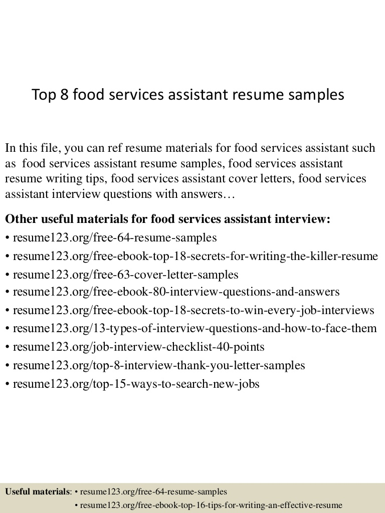 top food services assistant resume samples sample service Resume Sample Food Service Resume