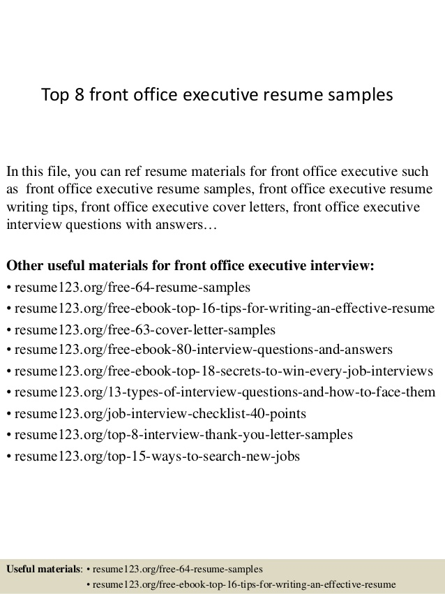 top front office executive resume samples hair stylist template grace hopper database Resume Front Office Executive Resume Download
