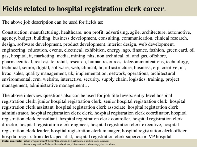top hospital registration clerk interview questions and answers resume stockroom sample Resume Hospital Registration Resume