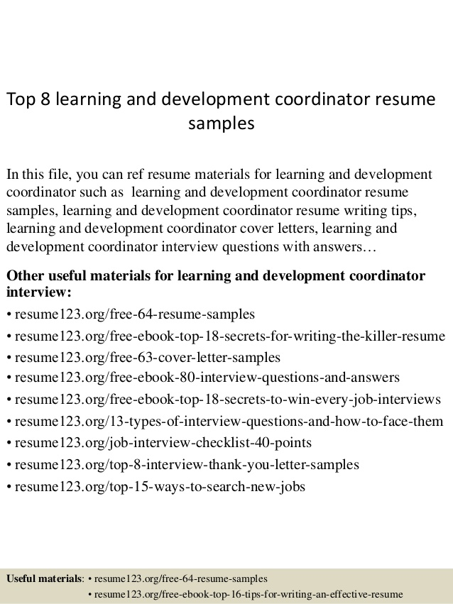 top learning and development coordinator resume samples medical secretary objective Resume Learning And Development Resume