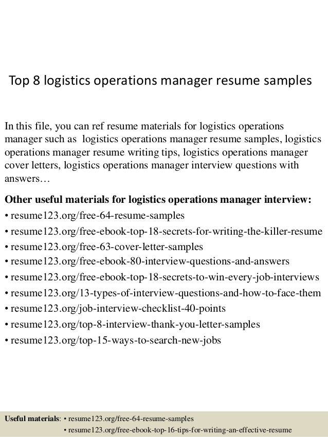 top logistics operations manager resume samples classy templates par chapitre therese Resume Logistics Operations Resume