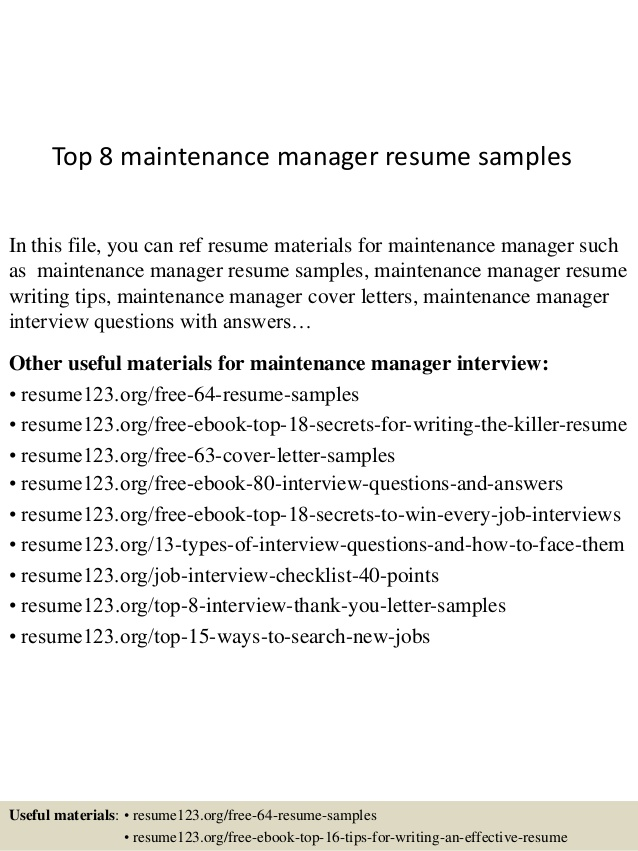 top maintenance manager resume samples objective scannable guidelines receptionist Resume Maintenance Manager Resume Objective