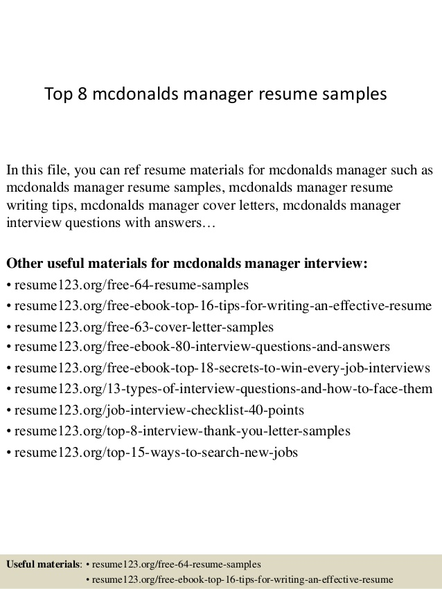 top mcdonalds manager resume samples maintenance entry level business analyst vbs on Resume Mcdonalds Maintenance Resume