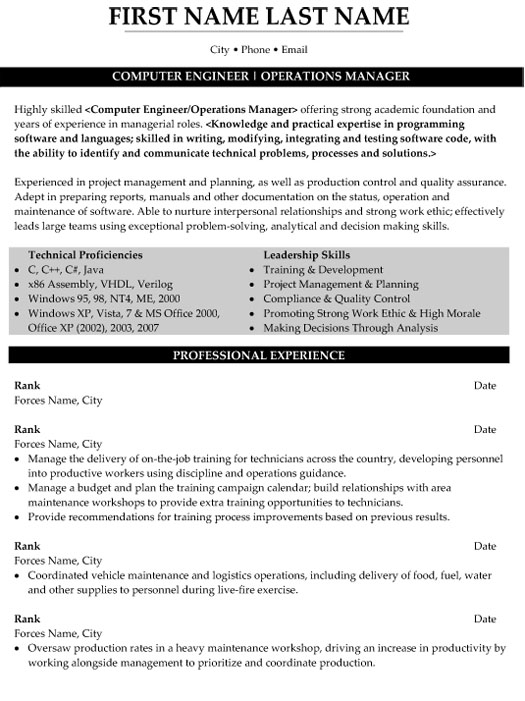 top military resume templates samples project management computer engineer operations Resume Military Project Management Resume