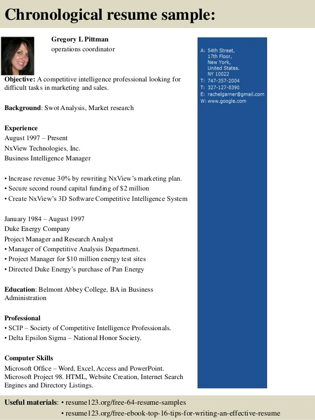 top operations coordinator resume samples tips for high school graduates chief Resume Operations Coordinator Resume