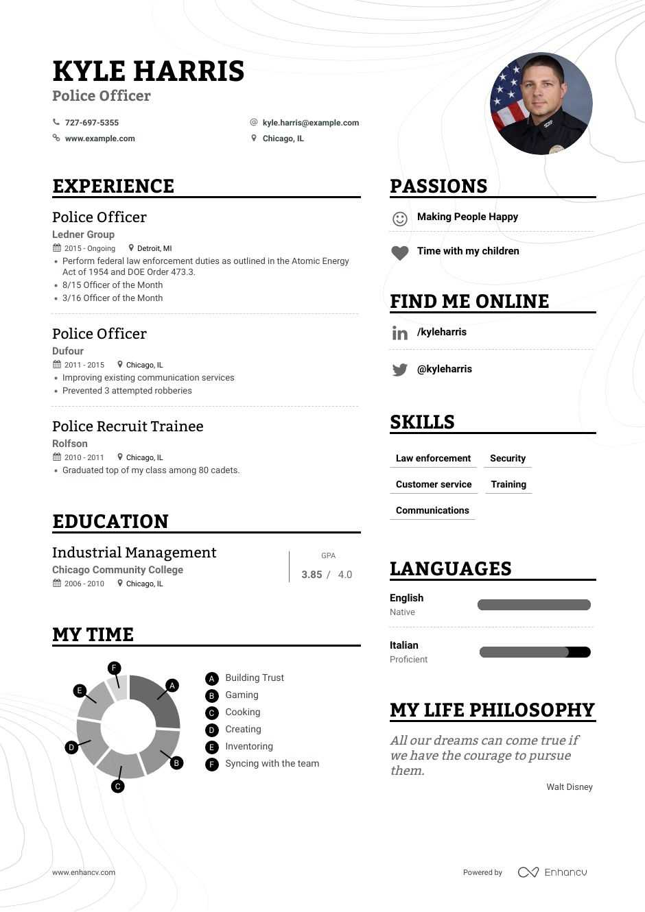 top police officer resume examples expert tips enhancv law enforcement template retail Resume Law Enforcement Resume Template
