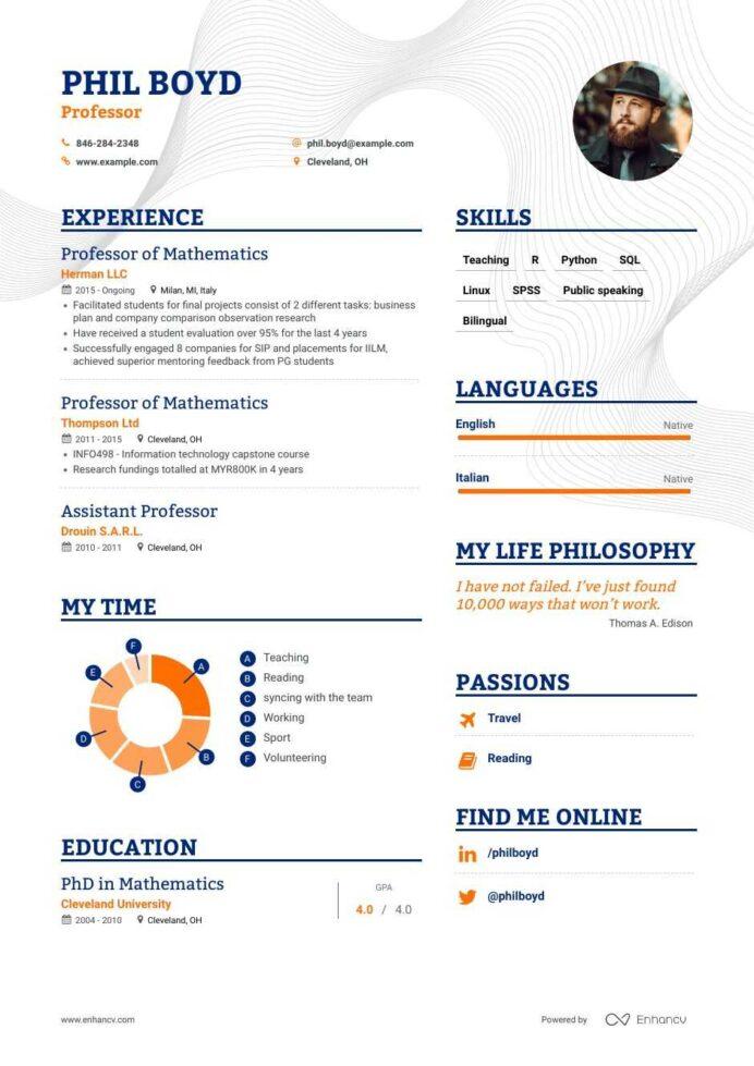 top professor resume examples samples for enhancv adjunct position tour guide sample Resume Resume For Adjunct Professor Position
