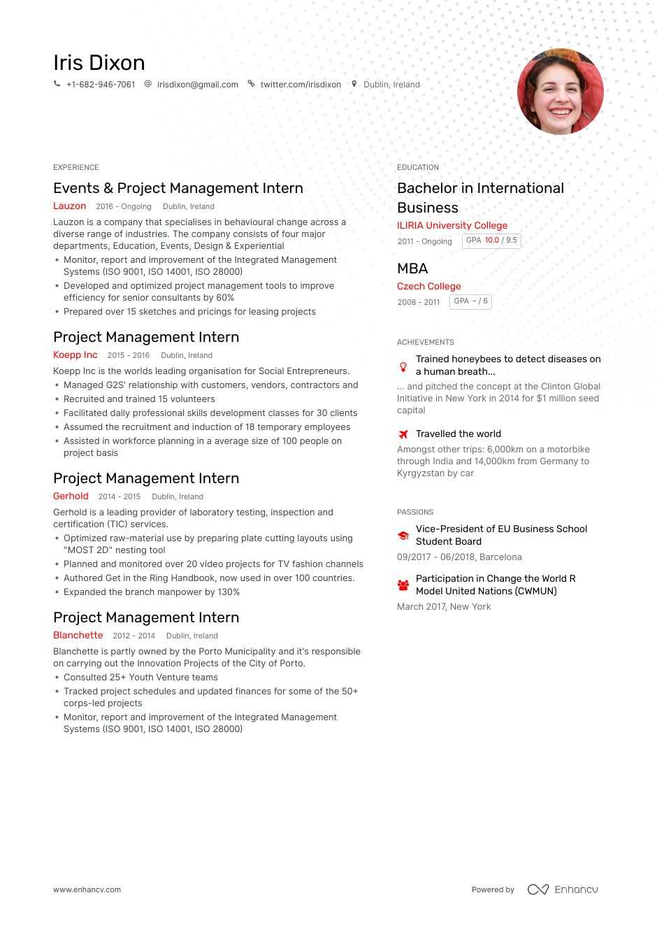 top project management intern resume examples samples for enhancv nations example student Resume United Nations Resume Example
