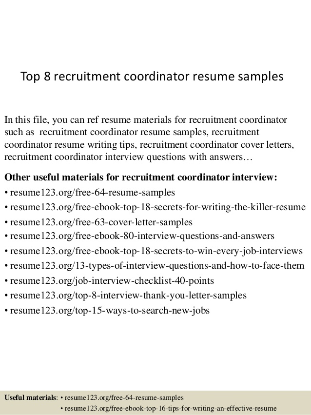 top recruitment coordinator resume samples recruiting sample skills and qualifications Resume Recruiting Coordinator Resume