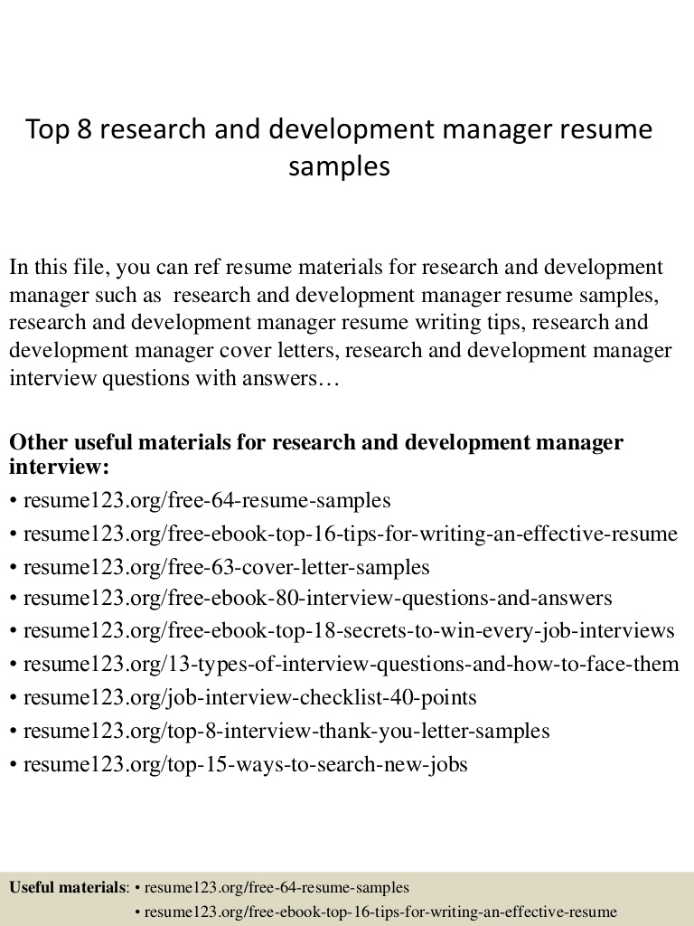 top research and development manager resume samples for pharmaceutical Resume Resume For Pharmaceutical Research And Development
