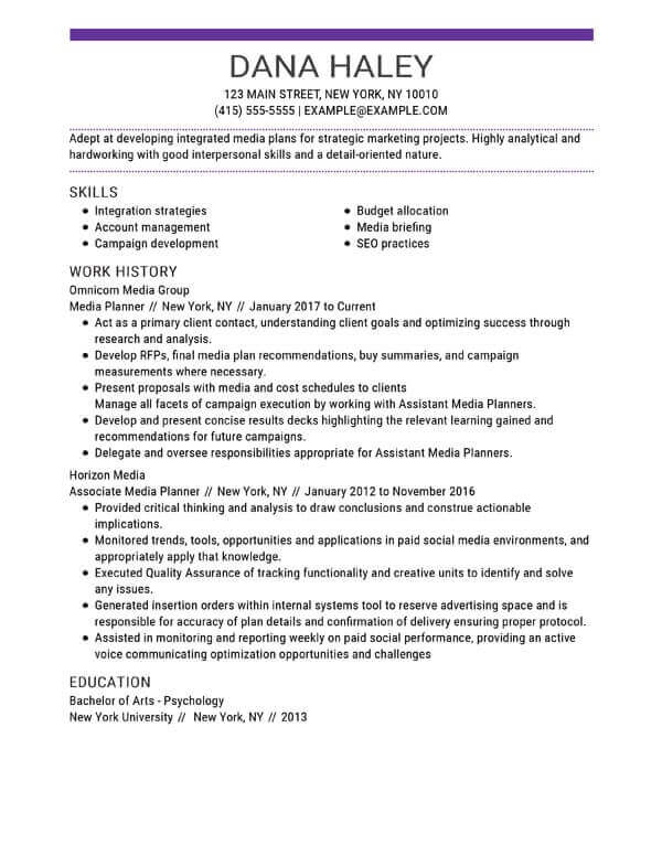 top resume skills examples myperfect that are good for marketing media planner busser job Resume Skills That Are Good For A Resume
