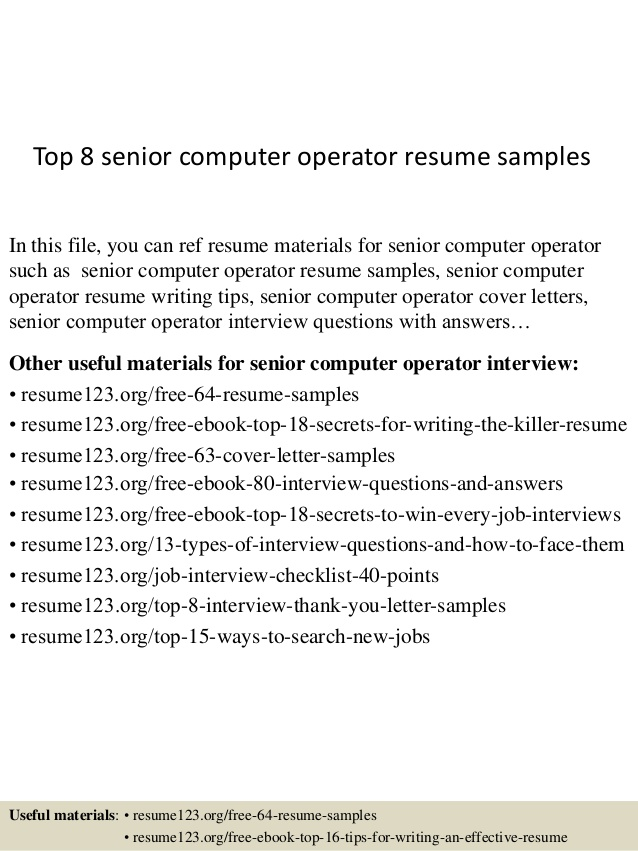 top senior computer operator resume samples best format for warehouse template columns Resume Best Resume Format For Computer Operator