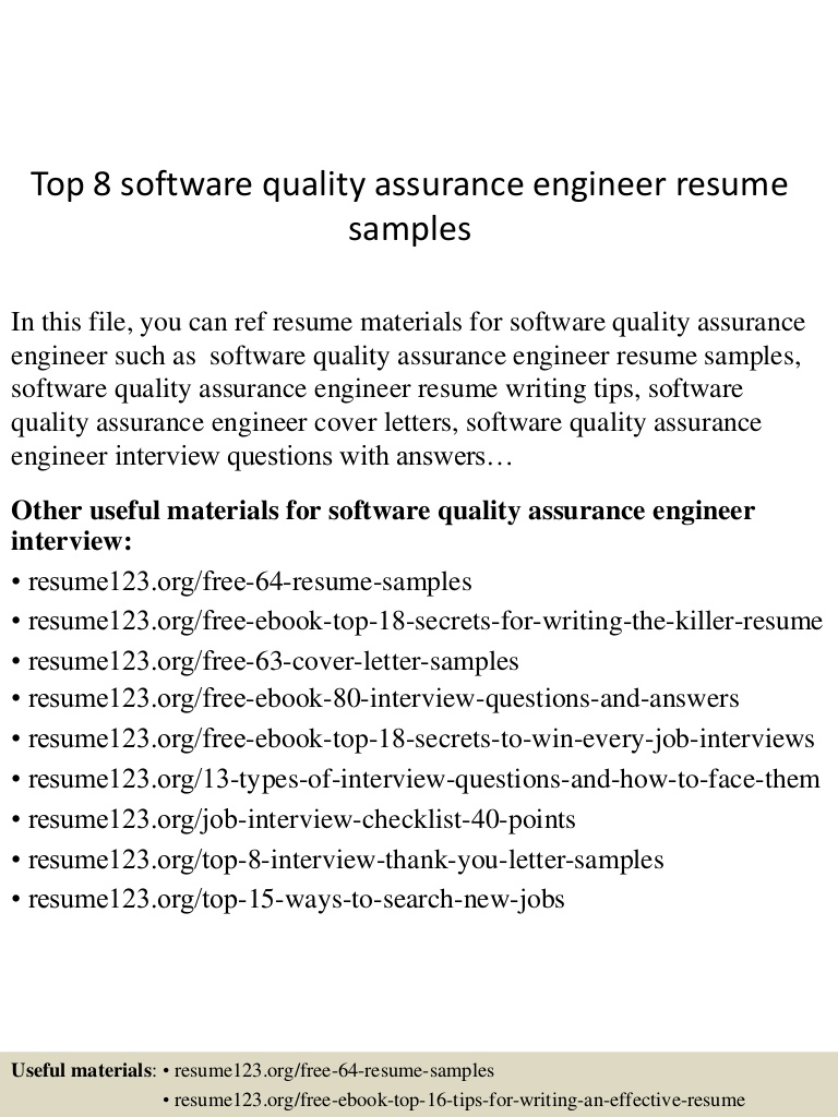 top software quality assurance engineer resume samples Resume Software Quality Assurance Engineer Resume