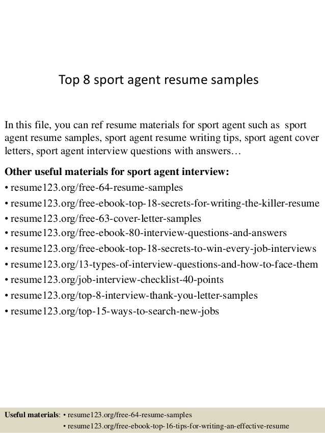 top sport agent resume samples sports on example summary college student elementary Resume Sports On Resume Example
