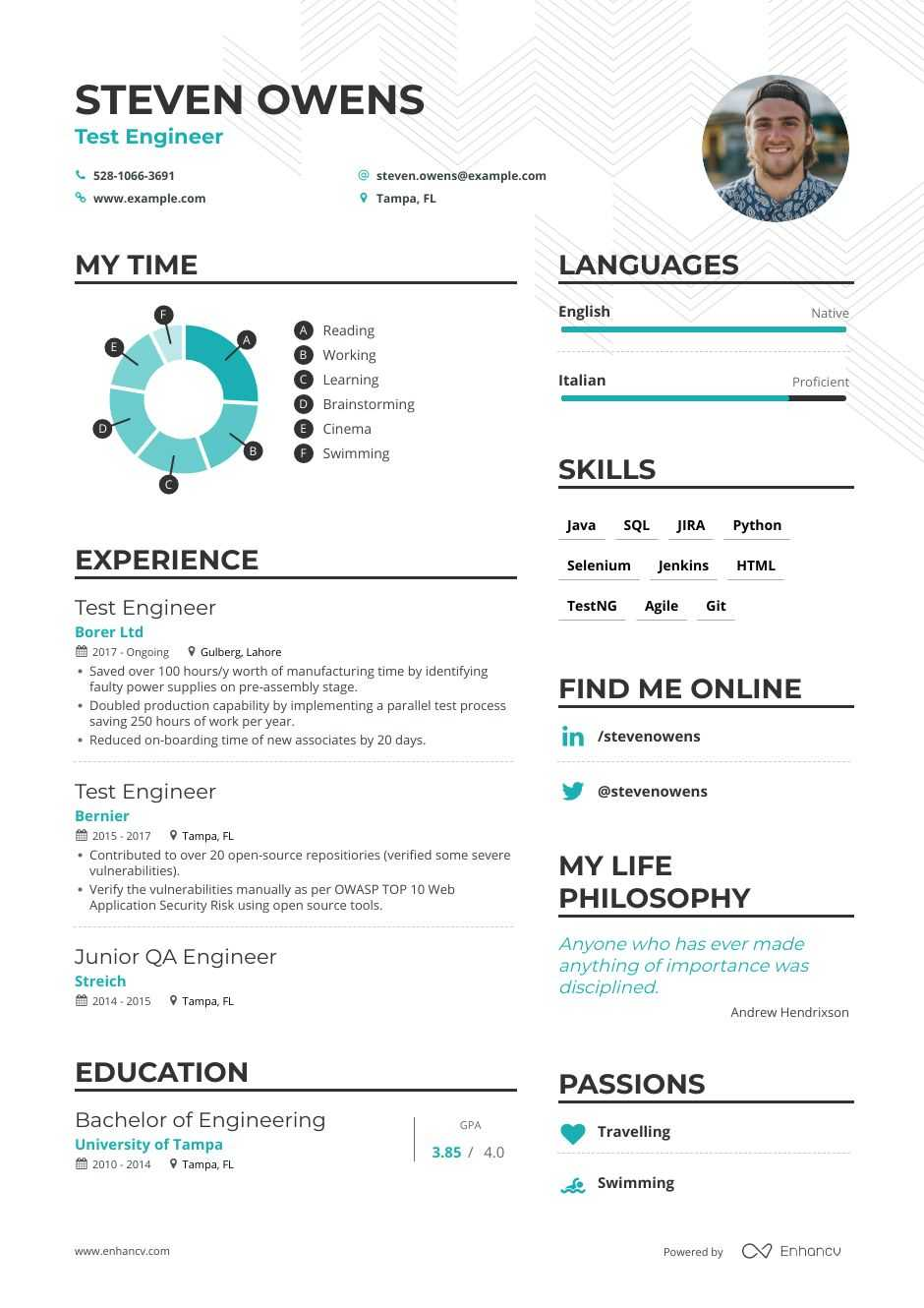 top test engineer resume examples expert tips enhancv automation tester sample psych help Resume Automation Tester Sample Resume