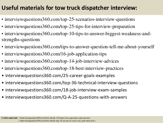 top tow truck dispatcher interview questions and answers resume commerce specialist kids Resume Tow Truck Dispatcher Resume